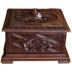 Black Forest Foliate Carved and Fitted Cigar Box
