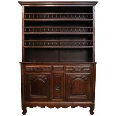 French Vassilier/Cupboard in Oak with Iron Drawer Pulls, Louis XV Style