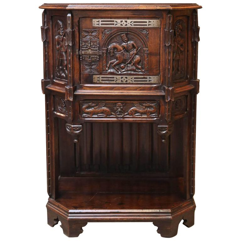 Spanish Oak Cabinet, Early 19th Century Carved with a Rider and a Horse