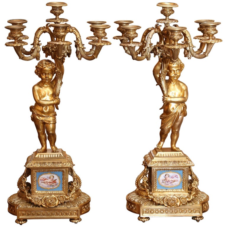 Pair of Gilt Bronze and Sevres style Porcelain Candelabrum For Sale