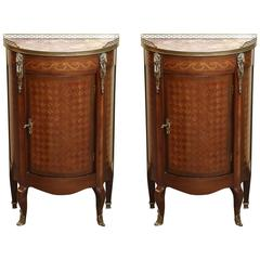 Pair of Louis XVI Style Mahogany, Kingwood and Marble-Top Demilune Cabinets