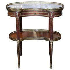 Mahogany and Marble-Top Occasional Table Louis XV into Louis XVI Style