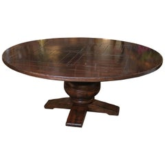Large Round Dining Table with Distressed Finish in Dark Pine