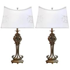 Pair of Art Deco Style Bronze Sculpture Lamps on Marble Base