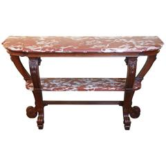 French Country Walnut Console with Marble Top, Late 19th Century