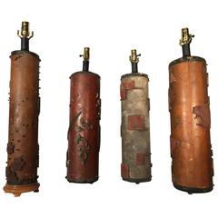 Four French Deco Wallpaper Roller Lamps