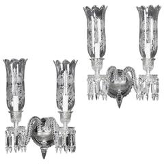 Pair of Cut-Crystal Two-Light Wall Appliqués by Baccarat, French, circa 1940
