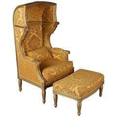 Bergère with Stool in the Style of Louis XVI