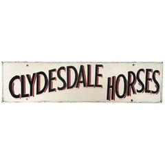 Vintage Folk Art Country Horse Fair Carnival Hand-Painted Clydesdale Horses Sign