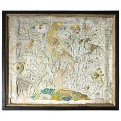 Early 18th Century Silkwork Picture Depicting the Tree of Life, circa 1700-1720