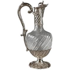 19th Century Cut-Crystal Ewer with Silver Mounts