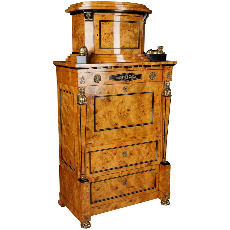 Courtly Secretaire in the Empire Style For Sale