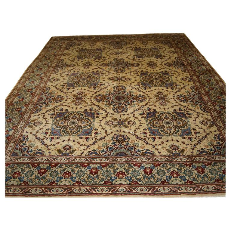 Persian Carpet Quality: Good Furnishing Quality Old Persian Qum Carpet Of