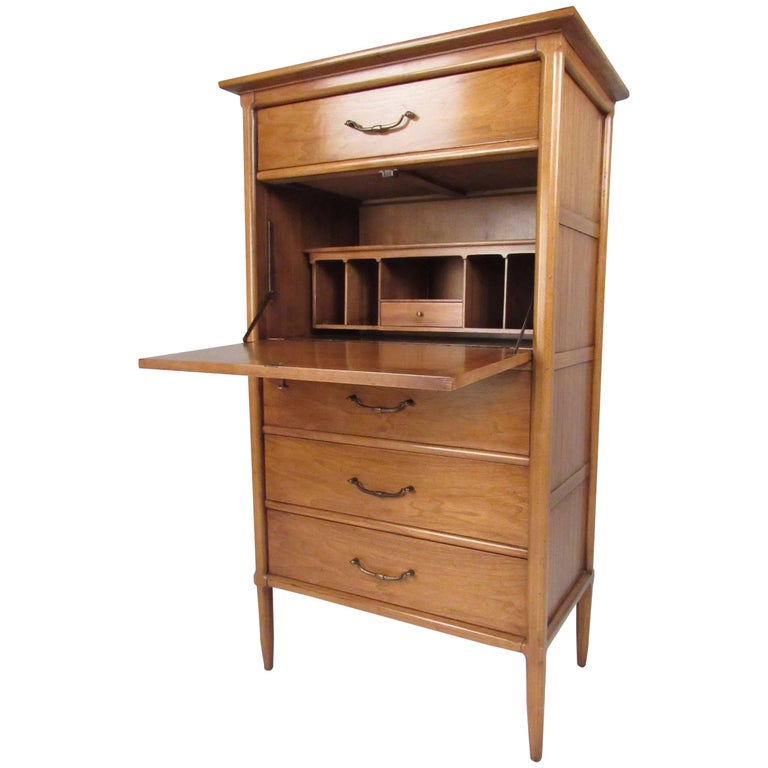 Tall Mid-Century Highboy Drop Front Secretary For Sale