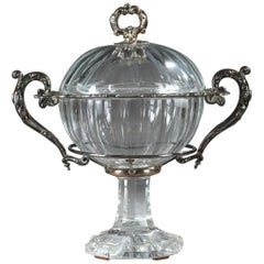 Mid-19th Century Jam Pot in Cut Crystal and Silver, Signed Martial Fray