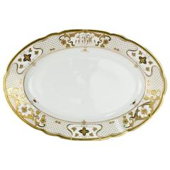 Large Heavily Gilt Antique Dresden Porcelain Serving Platter by Ambrosius Lamm