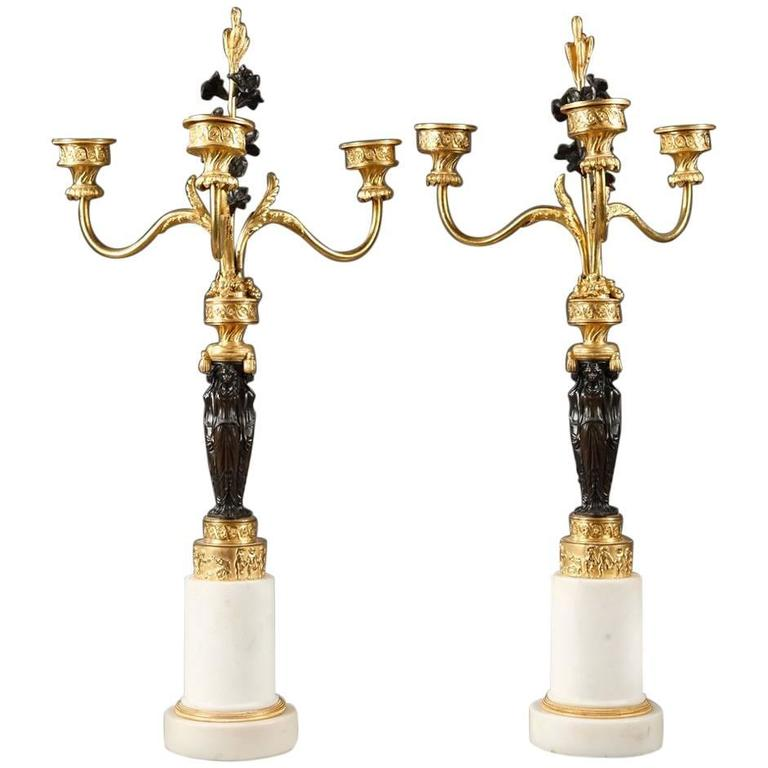 Early 19th Century Empire Pair of Candelabras with Caryatids