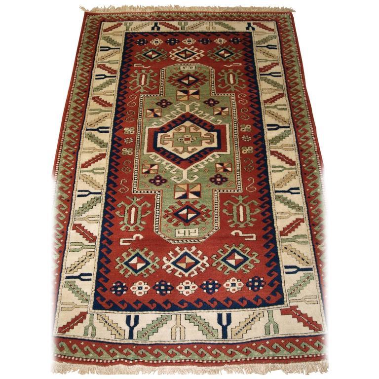 Turkish Ground Rug: Turkish Kazak Rug Of The Traditional Caucasian 'Sewan