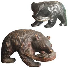 Japanese  Bears Fine PAIR Hand-Carved Cedar Wood Grasping Salmon Ainu