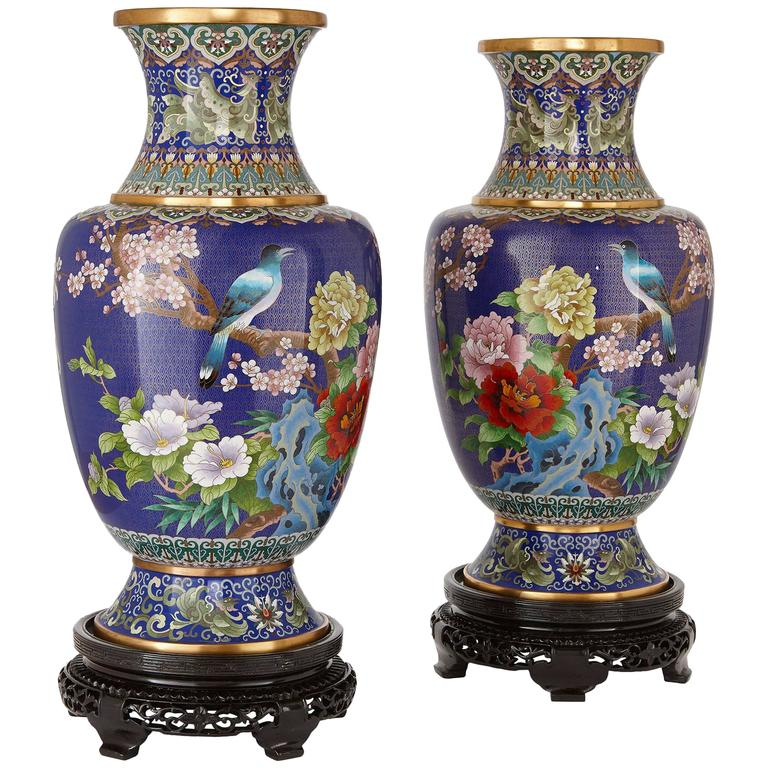 Pair Of Large Chinese Cloisonn Enamel Vases On Wooden Stands For
