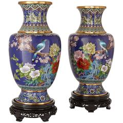 Pair of Large Chinese Cloisonné Enamel Vases on Wooden Stands