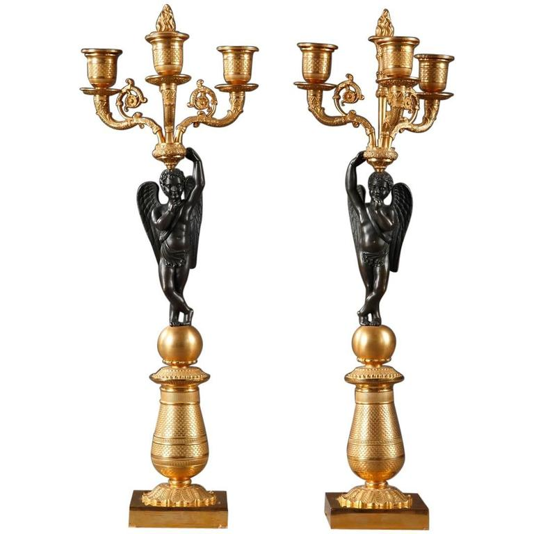Early 19th Century Pair of Gilded and Patinated Bronze Candelabras