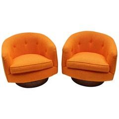 Pair of Milo Baughman Tilt Swivel Lounge Chairs