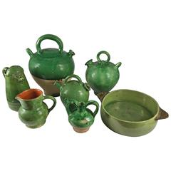Collection of Green Provencale Pottery, French, 19th & 20th Century