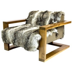 Sentient Caribou Exposed Frame Lounge Chair Coyote Fur Upholstery