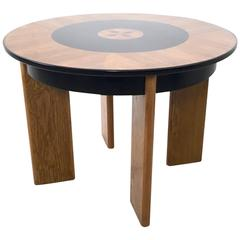 Art Deco Round Wood and Ebonized Wood Dining Table, Italy, 1940s