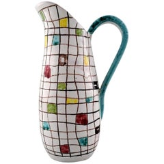 Italian Design, Ceramic Jug with Geometric Pattern, 1950s-1960s
