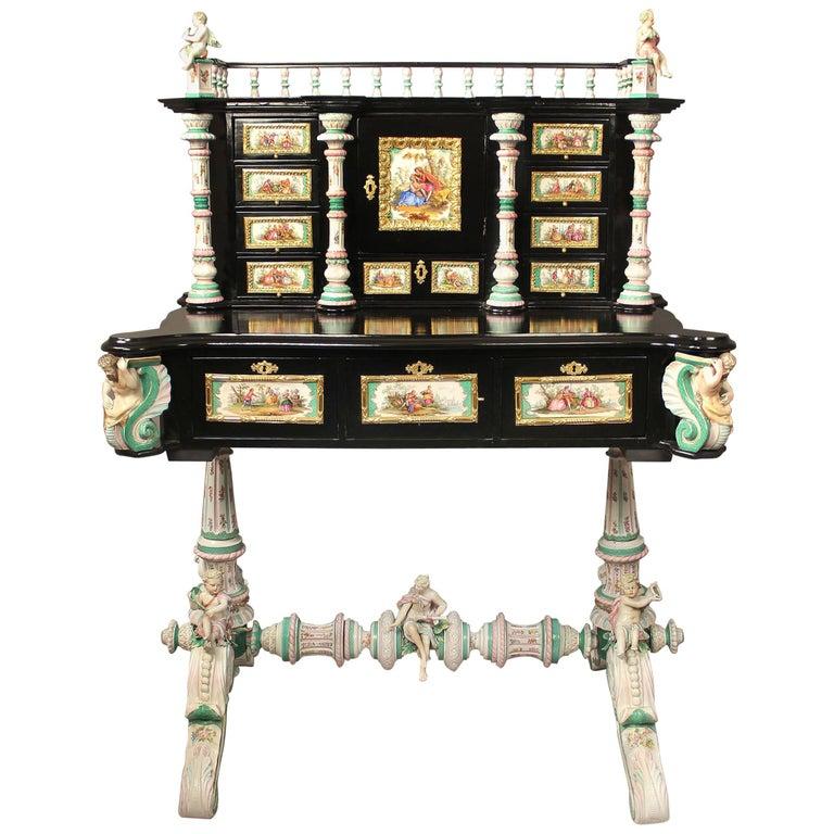 Lovely Late 19th Century Gilt Bronze-Mounted German K.P.M. Porcelain Desk For Sale