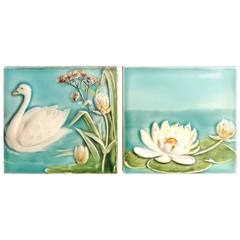Antique Hand-Painted Swan and Lotus Tiles Brilliant Blue Colors