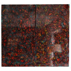 Glass Jimmiz Brainz Sliding Decorative Doors for Living Room in Red and Blue
