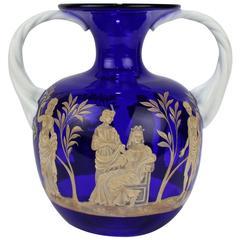 Pauly & Co Mid-Century Modern Blue & White Murano / Venetian Glass Portland Vase