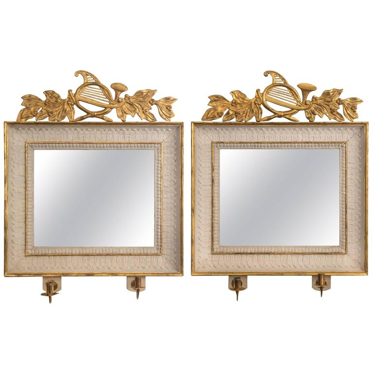 Pair Of Swedish Empire Period Painted And Parcel Gilt Wood Rectangular Mirrors For