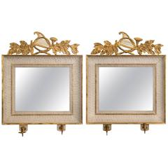 Pair of Swedish Empire Period Painted and Parcel-Gilt Wood Rectangular Mirrors