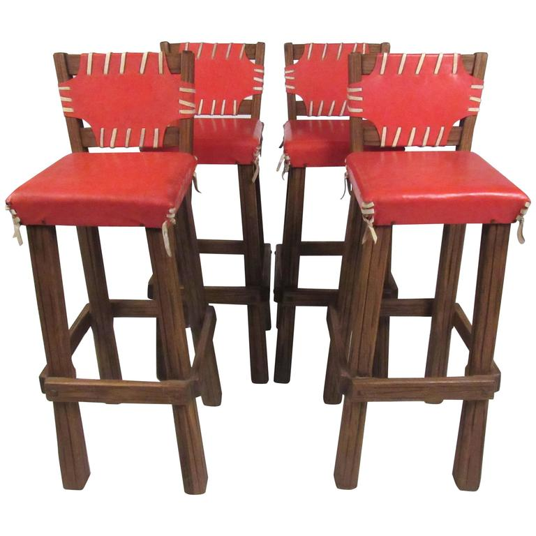 oak and leather swivel barstools by brandt ranch at 1stdibs. Black Bedroom Furniture Sets. Home Design Ideas