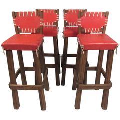 Rare Set of Four Brandt Ranch Oak Bar Stools