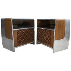 Custom Space Age Bauhaus Teak and Aluminium Stereo Console Cabinet, Pair