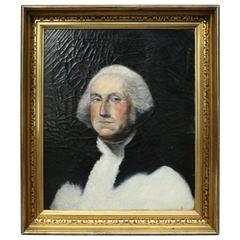 Antique Oil on Canvas Portrait Painting of President George Washington