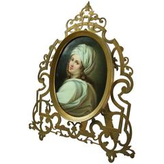 Antique KPM Style Berlin Porcelain Portrait Plaque of Beatrice Cenci, circa 1890