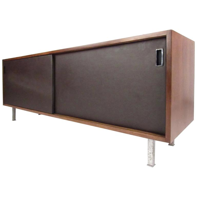 Stylish Modern Sliding Door Credenza by Florence Knoll
