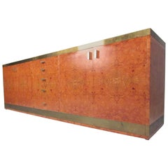 Willy Rizzo Style Brass and Burl Wood Credenza