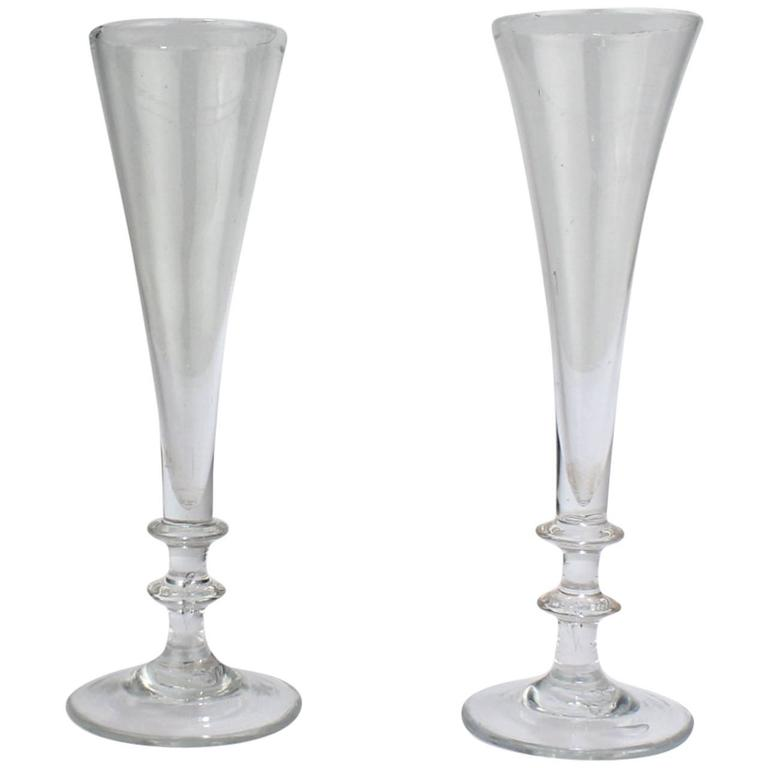 Near Pair of Antique 18th Century Georgian Period Glass Champagne Flutes