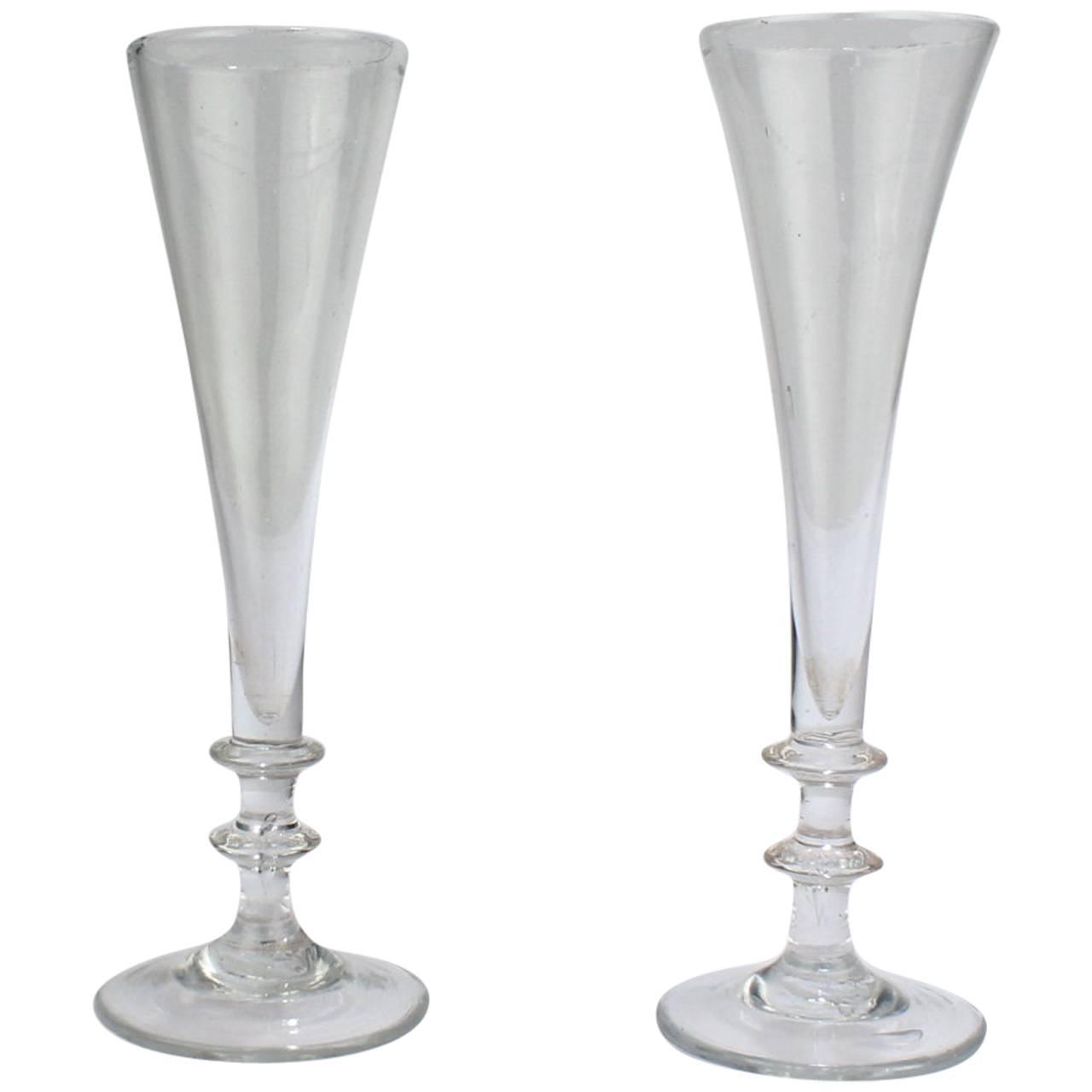 near pair of antique 18th century georgian period glass champagne flutes