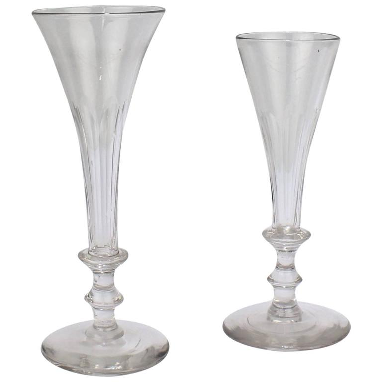 a36594f4c33a7 Pair of Antique Early 19th Century Regency Period Faceted Glass Champagne  Flutes