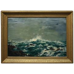 Antique Oil on Canvas Seascape in Gilt Frame Signed Rubye E. McKinstry, c1900