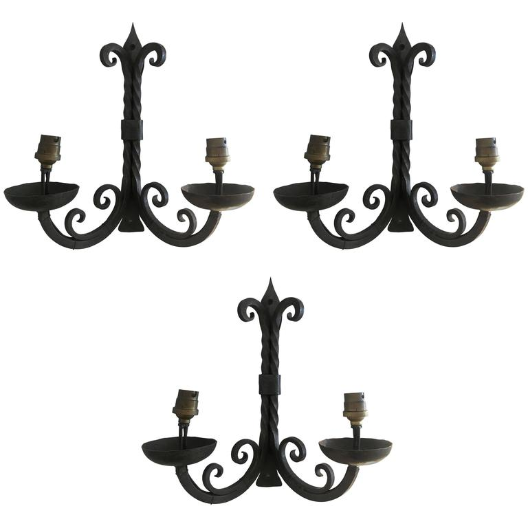 French Two-Arm Wrought Iron Sconces