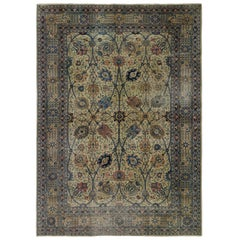 Distressed Antique Persian Tabriz Rug with Georgian Romantic Chippendale Style
